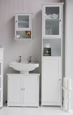 Bathroom Cabinets 30cm Wide side view of the white tall bathroom storage cabinet | lake