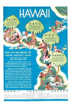 The Matson Line, a steamship company, ad promoting the islands of Hawaii for a vacation destination.