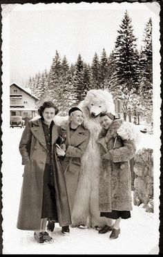 Eva Braun with two women and a person dressed as a polar bear in the Bavarian Alps, Germany, 1935 Lost Pictures, Rare Pictures, Picture Albums, Picture Show, Old Photos, Vintage Photos, Vintage Photographs, Life Magazine Archives, Polaroid