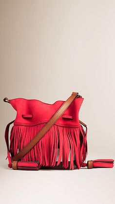 Windsor red Canvas Check Leather Crossbody Bag with Fringe - Image 1