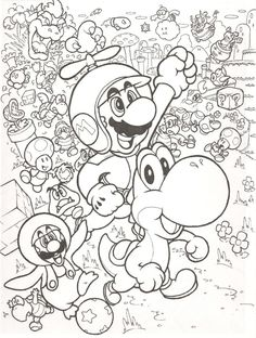 With this one I tried to give an old school look to New Super Mario Bros. New Super Mario Bros. Adult Coloring Pages, Super Mario Coloring Pages, Abstract Coloring Pages, Bear Coloring Pages, Pokemon Coloring Pages, Cartoon Coloring Pages, Free Printable Coloring Pages, Coloring Pages For Kids, Coloring Sheets