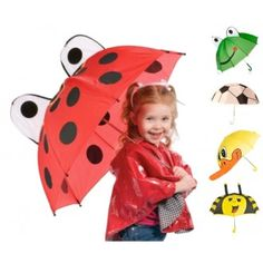 This adorable Ladybug Umbrella by Toysmith turns a rainy day into a fun adventure for your little one. With its sweet black spots and big eyes on top, it's sure to brighten your child's day while keeping them protected and dry. Kids Umbrellas, Baby Couture, Under My Umbrella, Singing In The Rain, Child Day, Beautiful Children, Cute Kids, Clothes, Ladybugs
