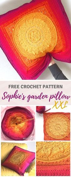 Free pattern: Sophies Garden. Additional pattern to make it into a XXL pillow on wilmade.com.