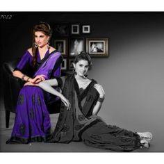 Shaded Violet color Shimmer saree