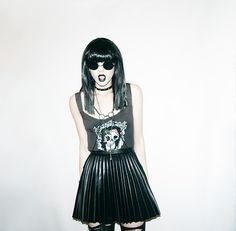 Youreyeslie Skull Top, H&M Accordion Skirt, Asos Harness Necklace, Hot Topic Choker