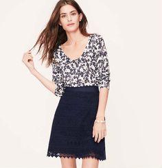 Petite Deco Lace Shift Skirt | Loft
