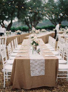 Wedding Tables - Lace Table Runner - Casual Elegance on http://www.StyleMePretty.com/2014/03/21/hilltop-al-fresco-wedding-in-malibu-california/ Photography: Kurt Boomer - kurtboomerphoto.com on #SMP