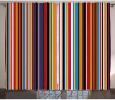 striped curtains colorful