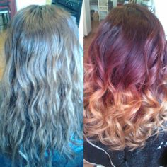 Healthy Hair Is Beautiful Hair..: Before and After red haircolor w/ blonde ombre