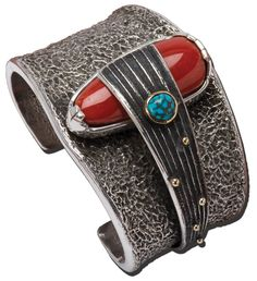 Sterling silver tufa cast cuff bracelet with coral & turquoise by Michael Roanhorse at True West Santa Fe