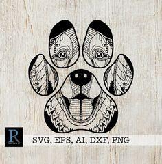 Dog coloring page, adult coloring, mandala drawing, dog paws, svg files for Dog Coloring Page, Adult Coloring, Coloring Pages, Mandalas Drawing, Zentangles, Paw Print Art, Diy Tattoo, Dot Painting, Dog Paws