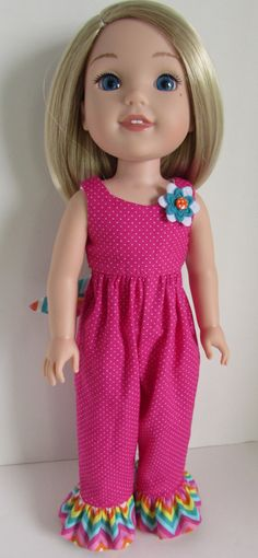 Pink and Chevron Design Romper for 14.5 Inch Dolls   Fits WellieWishers™