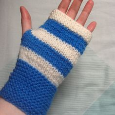 Blue Hand Warmers, Stripy Gloves, Blue and Cream Glove, Blue Cream Stripes, Layered Stripe Gloves, Yarn Gloves, Knit Gloves, Woolly Gloves