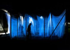 UK architect George King has created a glowing Lasermaze installation in Detroit.