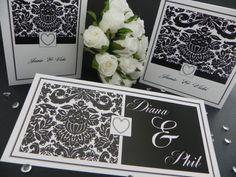 Balck Damask Wedding Invitations