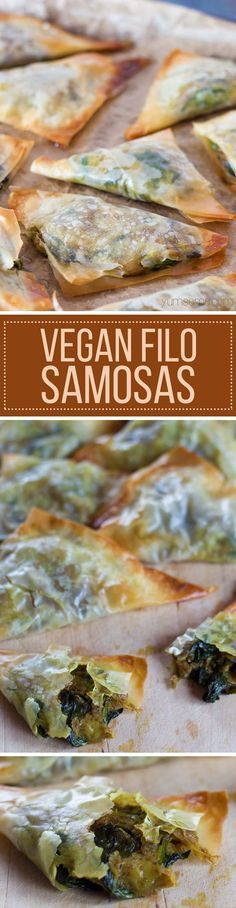 Slightly spicy, and full of flavour, my easy vegan filo samosas are super-yummy, total comfort food, and because they are baked, not fried, contain a fraction of the calories and fat of their more traditional counterparts.   http://Yumsome.com