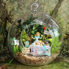 DIY Miniature Wooden Dollhouse Kit Hanging Glass + Voice Control LED Light Alice