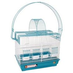 Double Playpen Cockatiel Cage in Blue & White