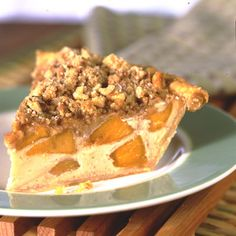 This all-time favorite, Deep-Dish Peach Custard Pie, features sliced peaches nestled in an egg-rich base and topped with streusel topping. Cinnamon and nutmeg add zest and flavor to this incredible dessert. Peach Custard Pies, Pie Recipes, Dessert Recipes, Diet Desserts, Pumpkin Dessert, Pumpkin Pumpkin, Yummy Drinks, Smoothie Recipes, Deep Dish