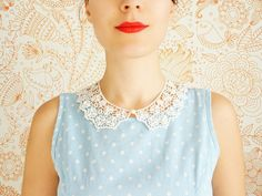 Bucco // Handmade Ivory Cotton Lace Collar Pearl Necklace by EPUU, $38.00 // Granny Style