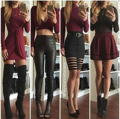 Dress burgundy black black leggings leather leggings burgundy skirt thigh high boots fall outfits cut out Mode Outfits, Sexy Outfits, Fall Outfits, Casual Outfits, Summer Outfits, Fashion Outfits, Fashion Trends, Black Outfits, Fashion Sale