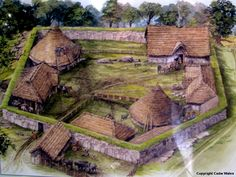 Modern rendering of The Din Lligwy Ancient Village, North Wales. 3-4 century AD. From excavation, it seems that the round structures were probably houses and the rectangular ones barns or workshops.