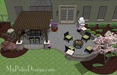 Curvy, shady and fun! With colorful pavers, the Beautiful Patio Design with Pergola creates 2 areas for outdoor dining and a fire pit. Layouts and material list.