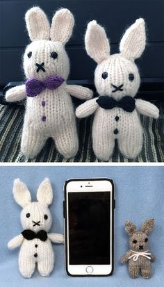 Free Knitting Patterns for Tuxedo Ted Bunny - A tiny bunny that fits in the palm. Free Knitting Patterns for Tuxedo Ted Bunny - A tiny bunny that fits in the palm of your hand. Worked from the top down . Knitting For Charity, Hand Knitting Yarn, Free Knitting, Baby Knitting, Knitted Bunnies, Knitted Animals, Crochet Cats, Crochet Birds, Crochet Food