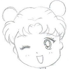 How to draw Chibi Sailor Moon (Head/face) Tutorial - Chibi Land