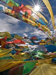 """Prayer flags in Tibet""  My wish for Tibet is that their Spiritual Leader may be able to go Home to his People with no fear of being imprisoned, or worse by China's occupying Army. Every Human being has the right to Freedom ~ <3 FREE TIBET <3 ~  May Peace, Light, Love, and Justice prevail"
