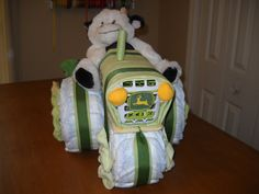 John Deere Tractor and Wagon Diaper Cake by ShelvasDiaperCakes