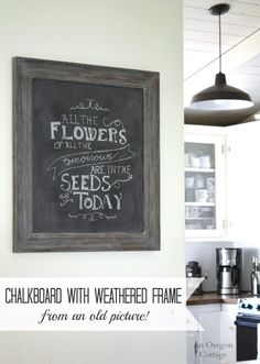DIY Chalkboard with Weathered Frame
