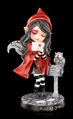 Elfen Figur mit Eule - Missing You | Elfen | Figuren | Dekoration | Gothic-Shop | www.figuren-shop.de