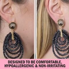 If your earrings are not sitting uprightwhere they should you need this Hypoallergenic Earring Lifter! The must-have beauty break through safely secures your earring to your ear lobe lifting them to make You look more beautiful confident. Daith Piercing, Smiley Piercing, Ear Piercings, Heavy Earrings, Beaded Earrings, Feather Earrings, Gold Earrings, Drop Earrings, Belleza Diy