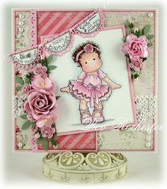 magnolia tilda card | OOAK handmade Magnolia Tilda with Ballet Shoes card by Bev Rochester