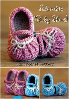 Totally adorable baby shoes - - Sorry I've been MIA, but spring has called and so has the garden and the yard and a lot of other stuff. It was a looooooooooooooooooooong winter and I am so happy to finally be able to spend …. Booties Crochet, Crochet Baby Sandals, Crochet Baby Boots, Crochet Shoes, Baby Booties, Knitted Baby, Cute Baby Shoes, Baby Girl Shoes, Baby Shoes Pattern