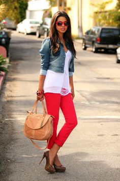 Red Sknnies cropped jacket long floaty t