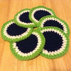 Seattle Seahawks 12th Man Style Crochet Coasters 6 Piece Set Handmade at Etsy $14.95