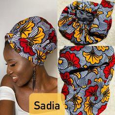 Bonnets - African / Ankara silk lined Bonnet with band African Hair Wrap, African Hats, African Head Wraps, African Attire, African Dress, African Babies, Hair Wrap Scarf, Hair Scarf Styles, African Print Fashion