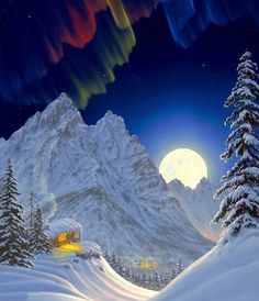 Fantasy as a fairy tale. Hawaii Landscape, Landscape Photos, Landscape Photography, Strange Weather, Nature Artists, Winter Scenery, Winter Magic, Beautiful Moon, Snow Scenes
