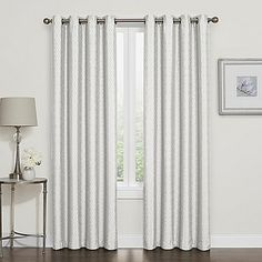 Give your window an elegant update and keep your privacy with the Darcy Blackout Curtain. The finely-woven jacquard panel has superb drapability and is lined to block unwanted light and noise for better comfort. Top grommets make it easy to install. Blackout Windows, Blackout Curtains, Grommet Curtains, Drapes Curtains, Custom Drapes, House Windows, White Paneling, Panel Bed
