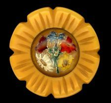 BIG Vintage Bakelite Button..Flower Shape, Intaglio Molded & Painted Glass Inset