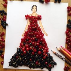 Red and Black currant dress by Edgar Artis