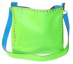 Valentino Rockstud Reversible Neon Green & Blue Cross Body Bag $2,695