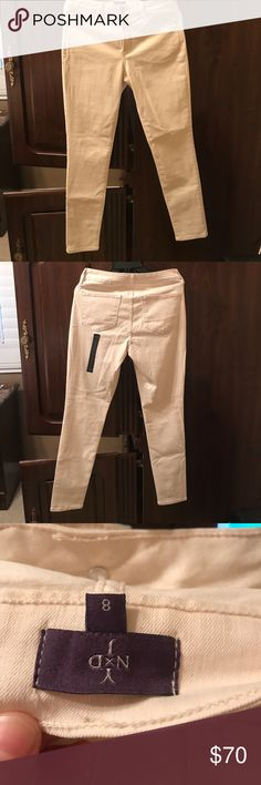 Not your daughter nydj cream super skinny jeans Brand new without tags still has sticker tags attached as seen in pictures above size 8 pet free smoke free home NYDJ Jeans Skinny
