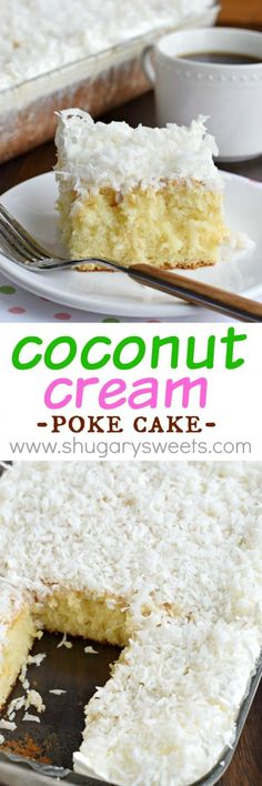 Coconut Cream Poke Cake recipe is perfect for a brunch, potluck or a sweet dessert after any meal. Lots of poke cakes Poke Cake Recipes, Cupcake Recipes, Baking Recipes, Dessert Recipes, Cupcakes, Cupcake Cakes, Easy Desserts, Delicious Desserts, Coconut Poke Cakes