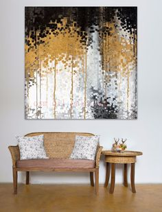 Hand Painted Modern Abstract Gold White Birch Tree Oil Painting on Canvas Handmade Riches For The World Forest Wall Art Pictures