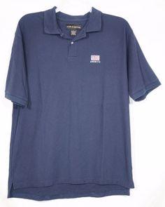 CROFT & BARROW Mens Blue Polo Shirt Large Short Sleeve American Flag Patch  #CroftBarrow #PoloRugby