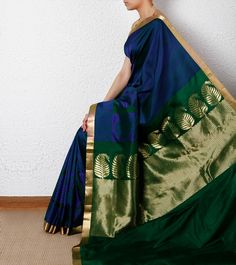 Silk Saree Blue Chevron Silk Saree with Zari Border Tithli Silks Indian Sarees, Silk Sarees, Saris, Indian Dresses, Indian Outfits, Indian Clothes, India Fashion, Asian Fashion, Women's Fashion