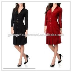 991dad76f87c Women long sleeve Knee-Length V neck button front with belt office lady  wear style Pleated shirt dress